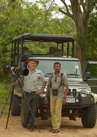 Tony Wilson with Thilina at Lunugamvehera National Park