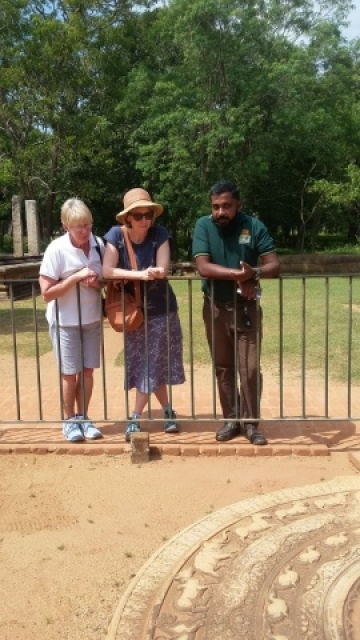 Christine and Carole in Sri Lanka with Chameera